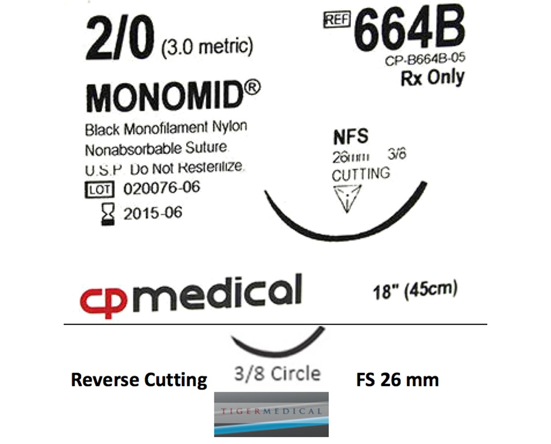 Monomid® Non-Absorbable Sutures with Reverse Cutting Needles, Size 2-0, 3/8 Circle, 12 per Box CPM664B
