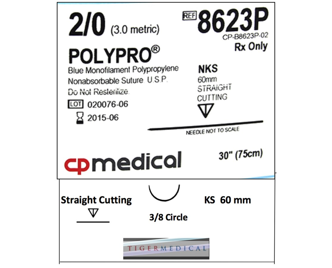 POLYPRO® Polypropylene Non-Absorbable Sutures with Straight Cutting Needles, 3/8  Circle, 12 per Box CPM8623P