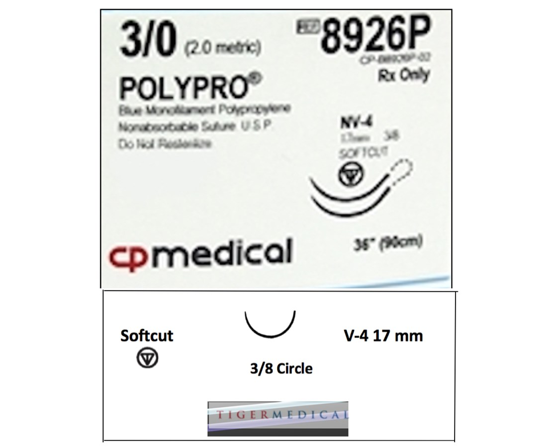 POLYPRO® Polypropylene Non-Absorbable Suture with Softcut  Needles, 3/8  Circle, 12 per Box CPM8926P