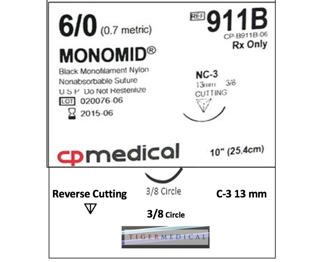 Monomid® Non-Absorbable Sutures with Reverse Cutting Needles, 3/8 Circle, 12 per Box CPM913B