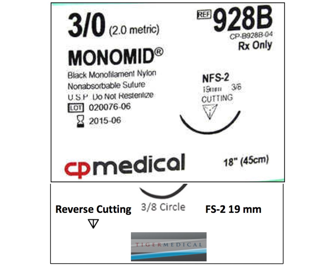 Monomid® Non-Absorbable Sutures with Reverse Cutting FS-2 Needles, 3/8 Circle, 12 per Box CPM928B