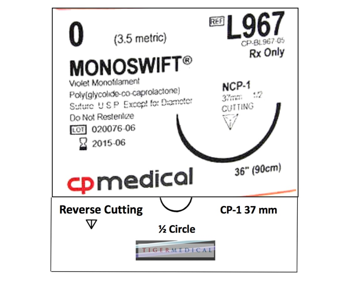 MONOSWIFT® PCGL Absorbable Sutures with Reverse Cutting Needles, 1/2 Circle, 12 per Box CPML967