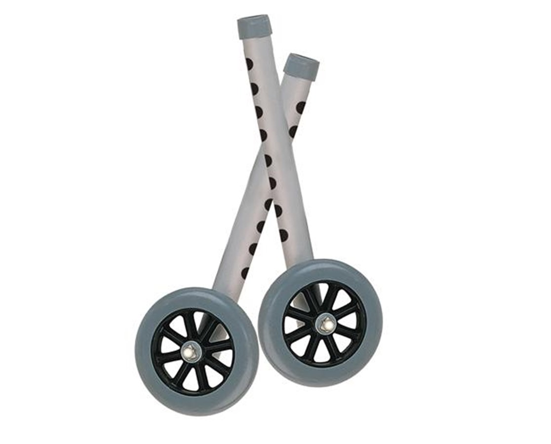 """5"" Walker Wheels with Two Sets of Rear Glides for Use with Universal Walker"" DRI10128"