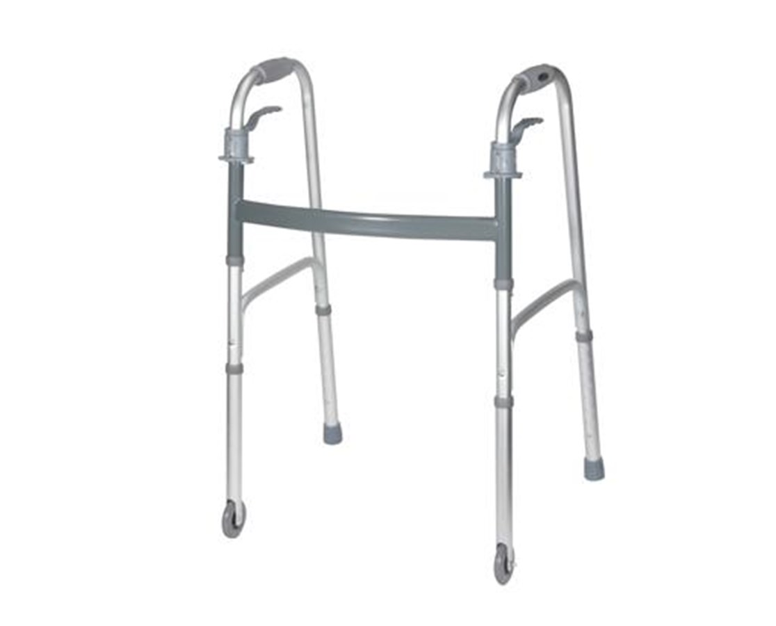 "Deluxe Trigger Release Folding Walker with 3"" Wheels DRI10228G"