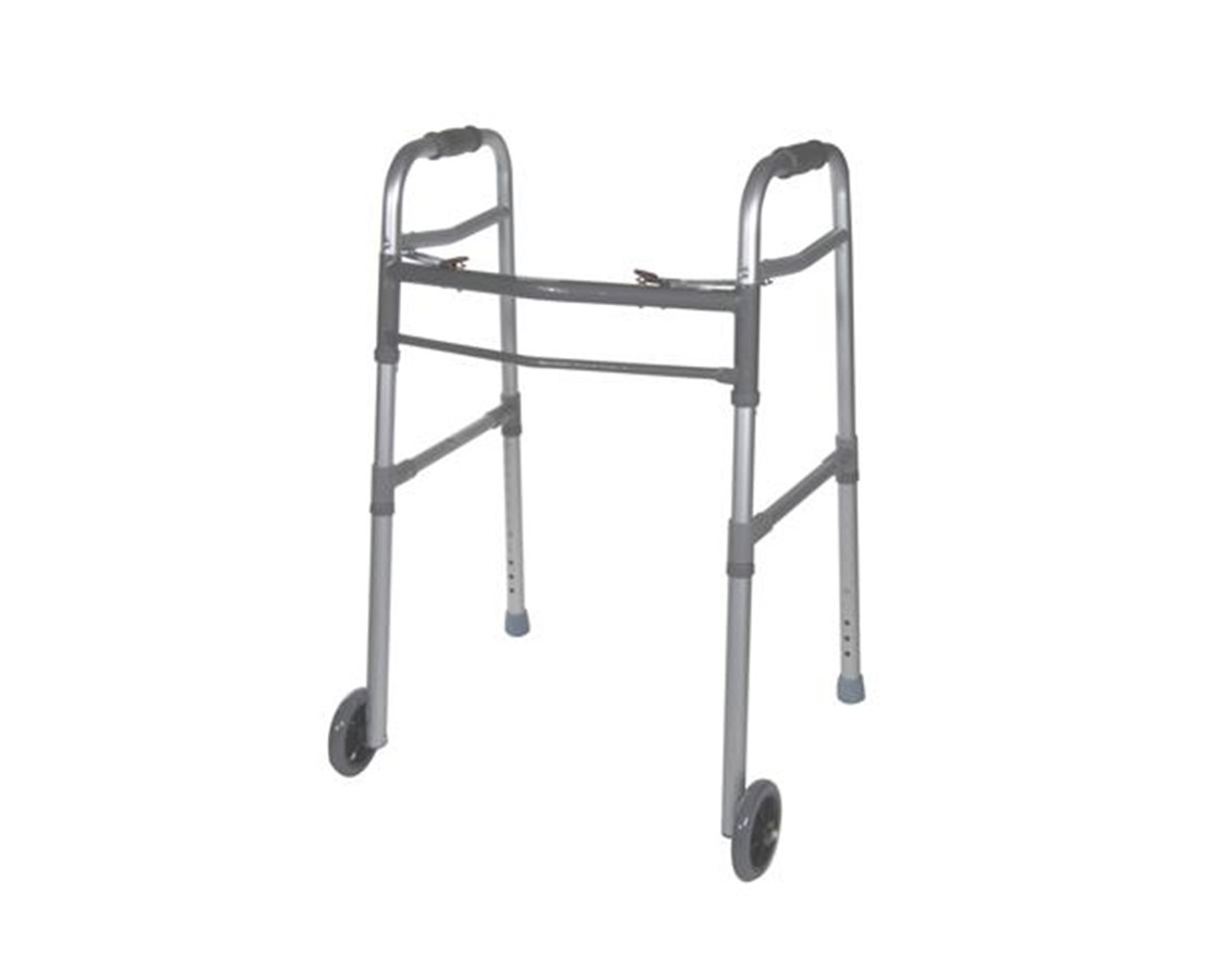 """Two Button Folding Universal Walker with 5"" Wheels"" DRI10253-1"