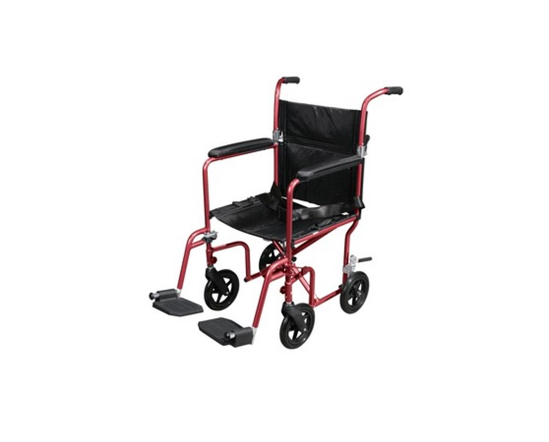 Flyweight Lightweight Transport Wheelchair with Removable Wheels DRIRTLFW19RW-RD-