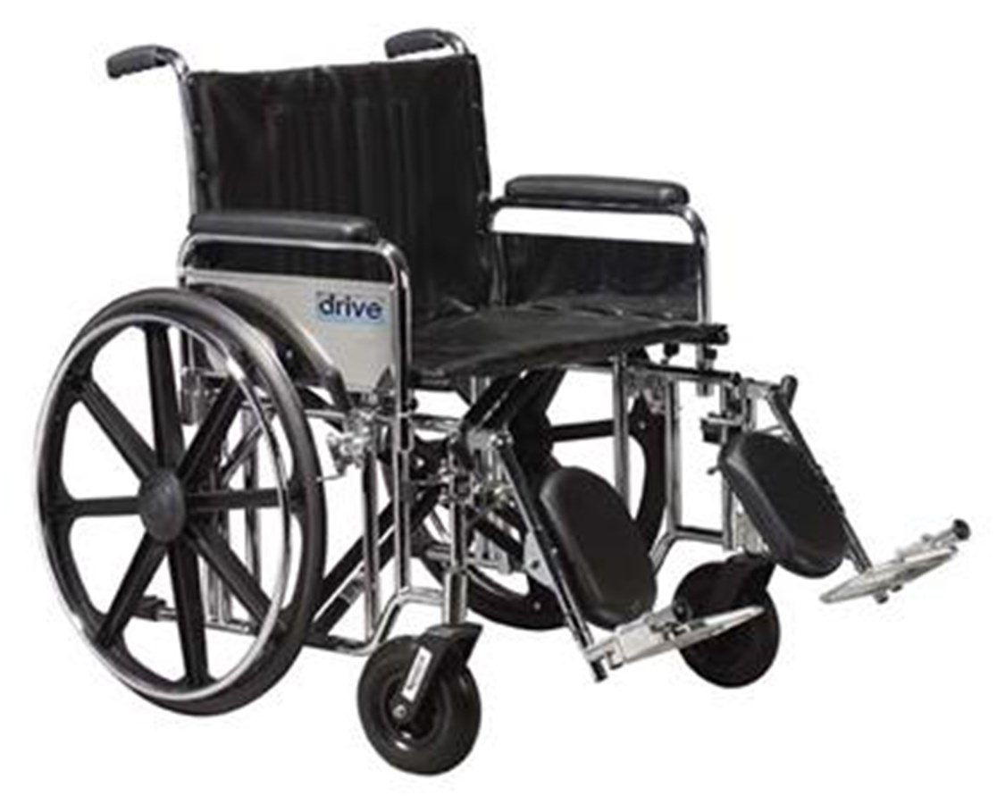 Sentra Extra Heavy Duty Wheelchair with Various Arm Styles and Front Rigging Options DRISTD20DDA-SF