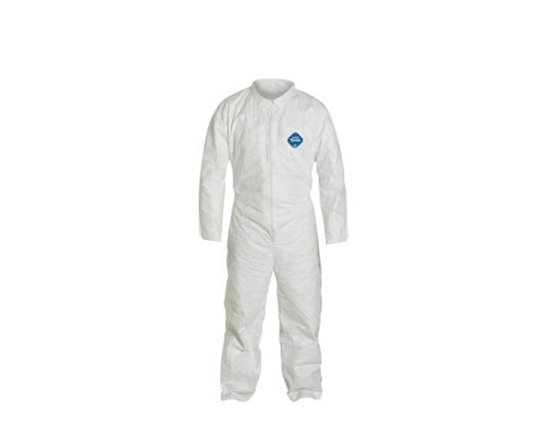White Tyvek TY Coverall with Serged Seams and Zipper Front DUPTY120SWH