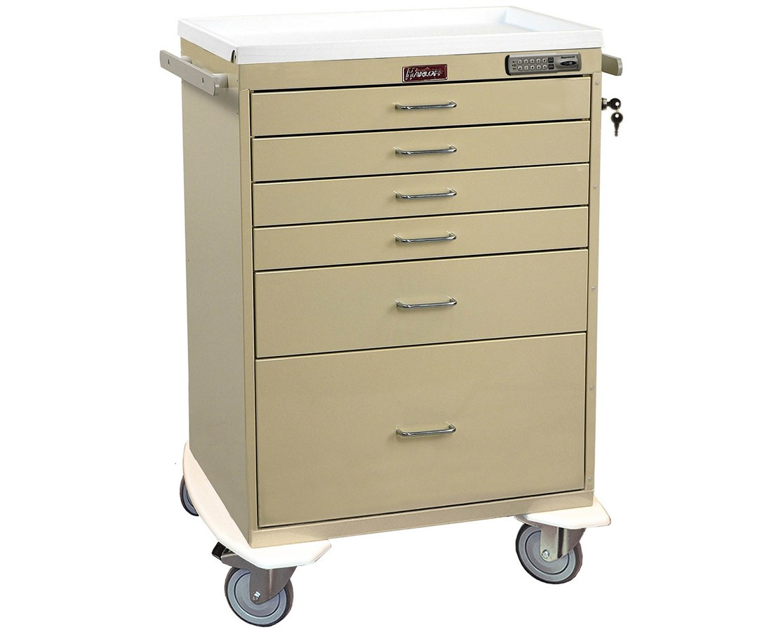 Classic Short Four Drawer Anesthesia Cart with Combination Lock HAR7350-