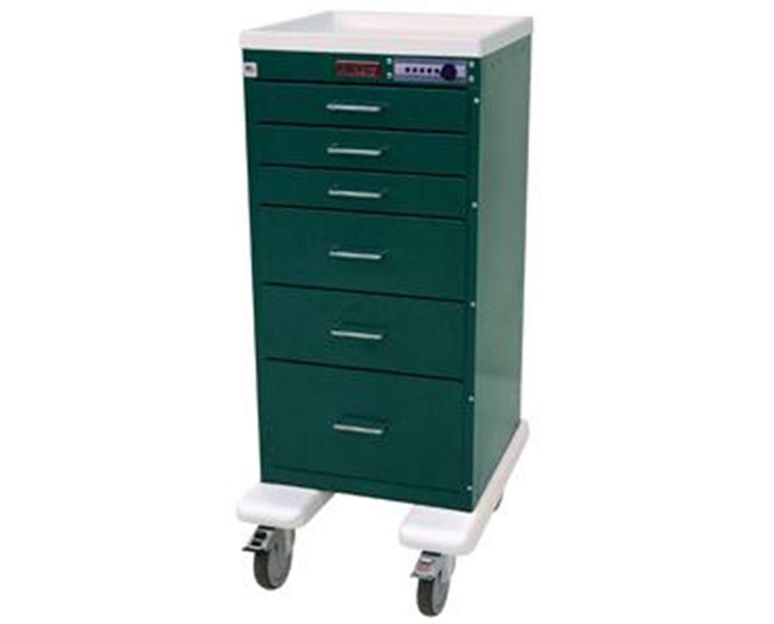 Mini Line Aluminum Six Drawer Tall Cabinet Anesthesia Cart