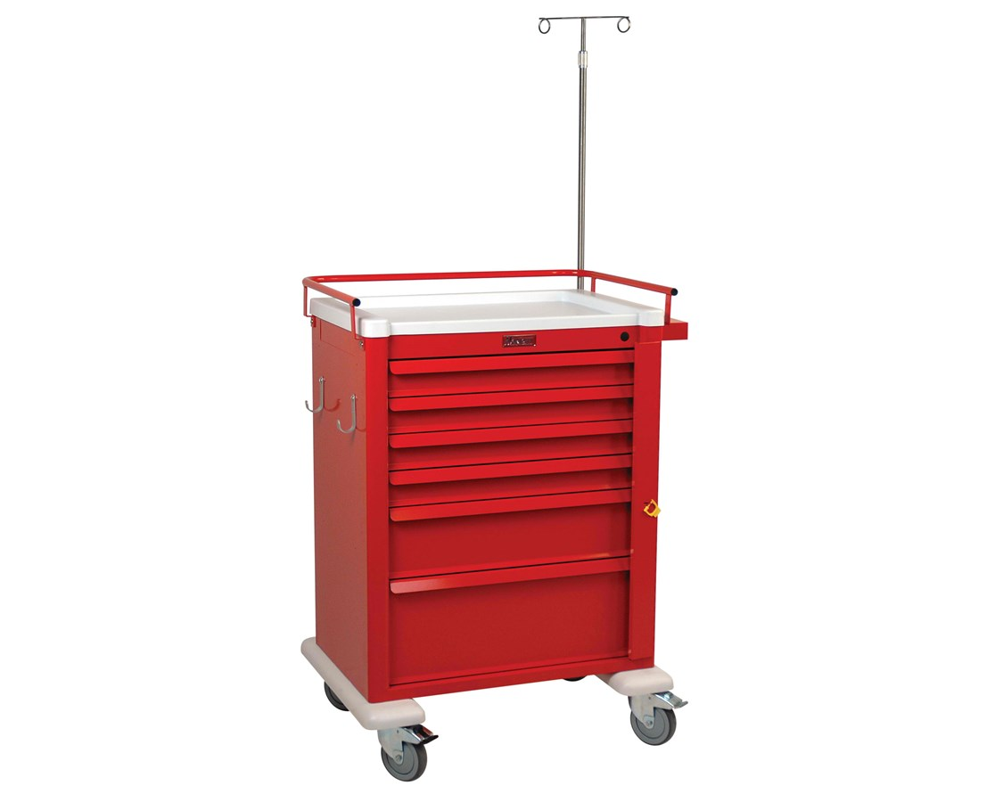 Universal Aluminum Tall Six Drawer Crash Cart HARAL809B6-