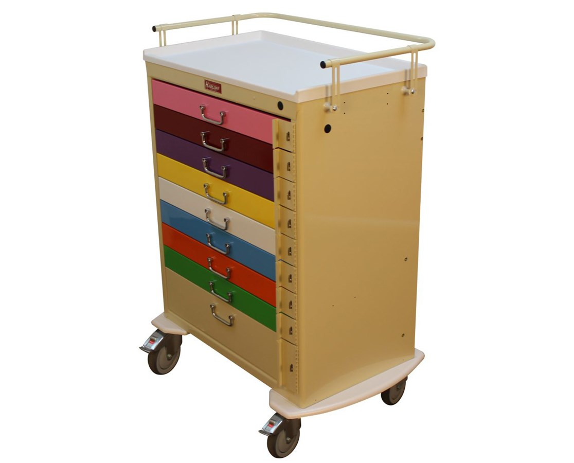 Tall Nine Drawer Emergency Pediatric Cart HARM3030B9-PED-