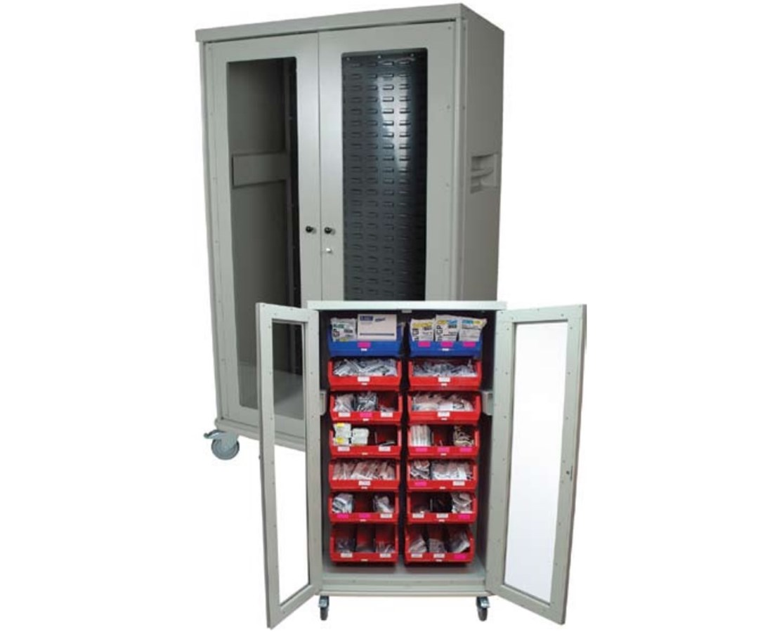 Visual Bin Storage Cart with Plexi-Glass Doors HARMS4372LVR