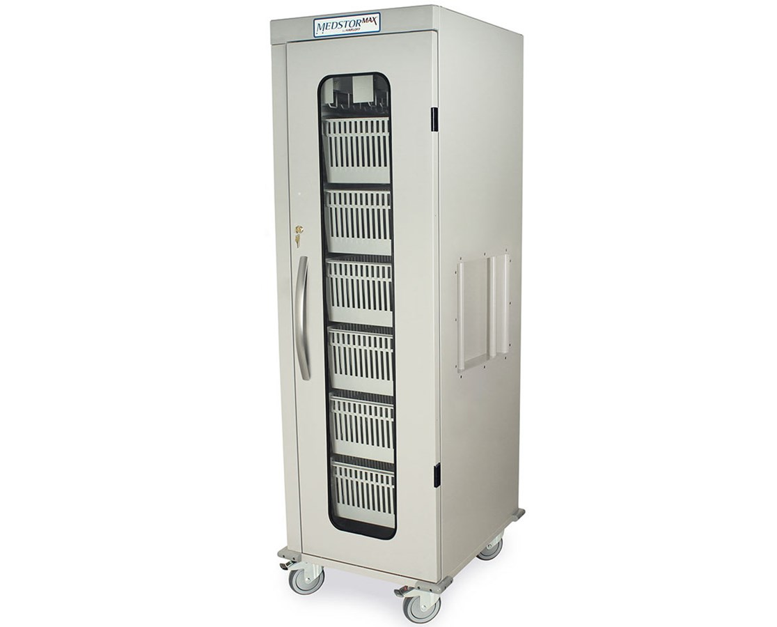 Medstor Max Single Column Medical Storage Cart with Clear Panel Double Door
