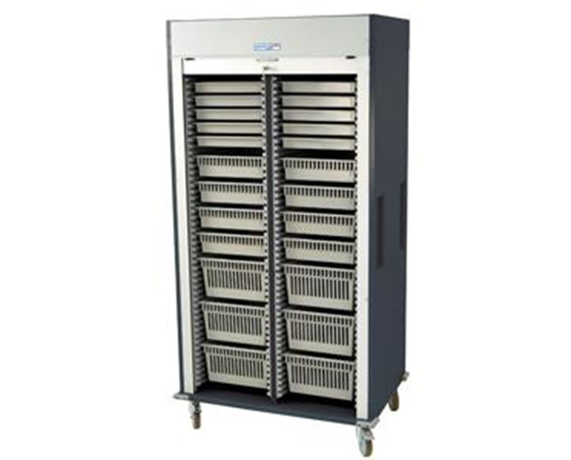 Preconfigured Double Column Medical Storage Cart with Tambour Door HARMS8140-A-