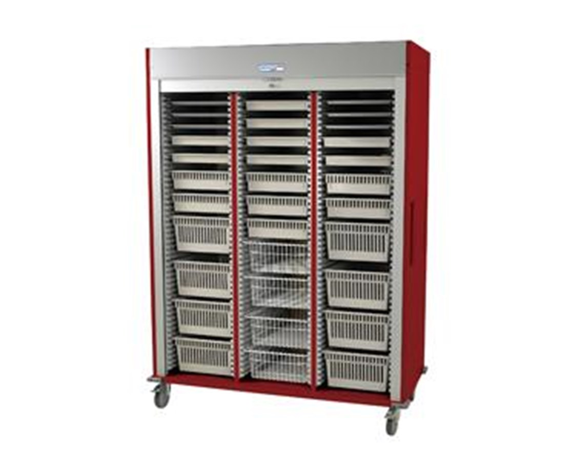 Preconfigured Triple Column Cardiovascular Medical Storage Cart with Tambour Door HARMS8160-CARDIO-