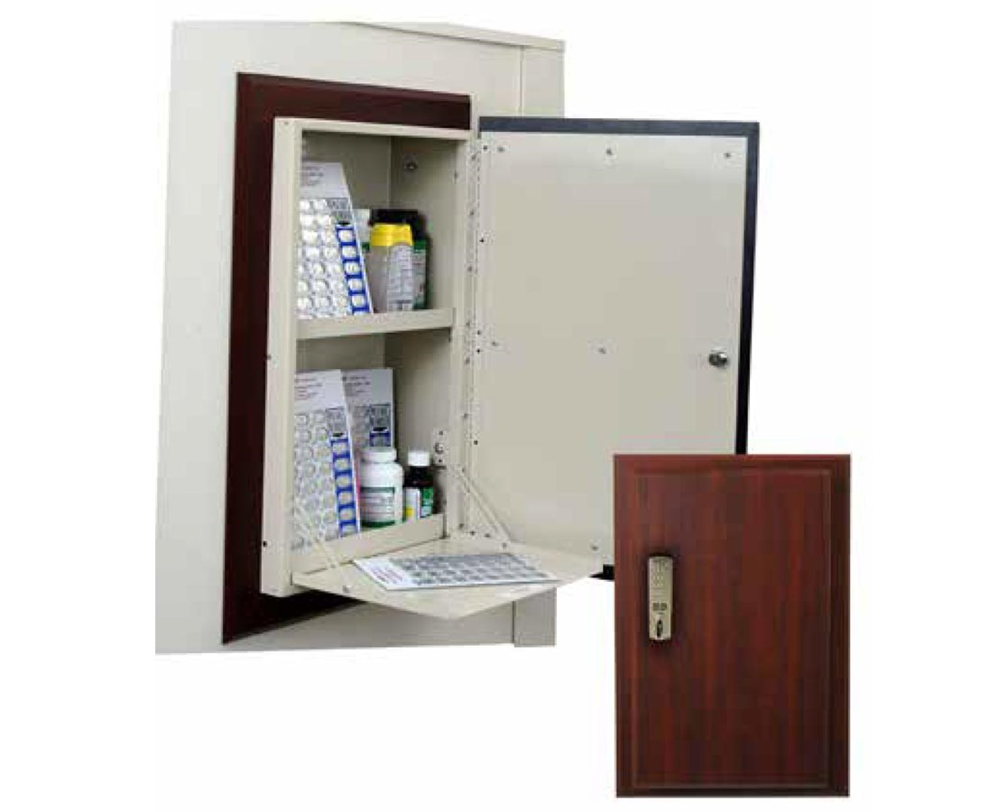 Wood Laminate Wall 40 Punch Card Medication Cabinet with Push Button Lock HARWL2784TRMPKG-
