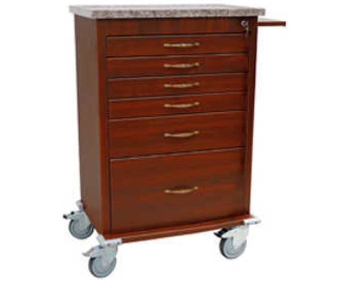 Wood Vinyl Six Drawer Treatment Cart HARWV6450-CM-