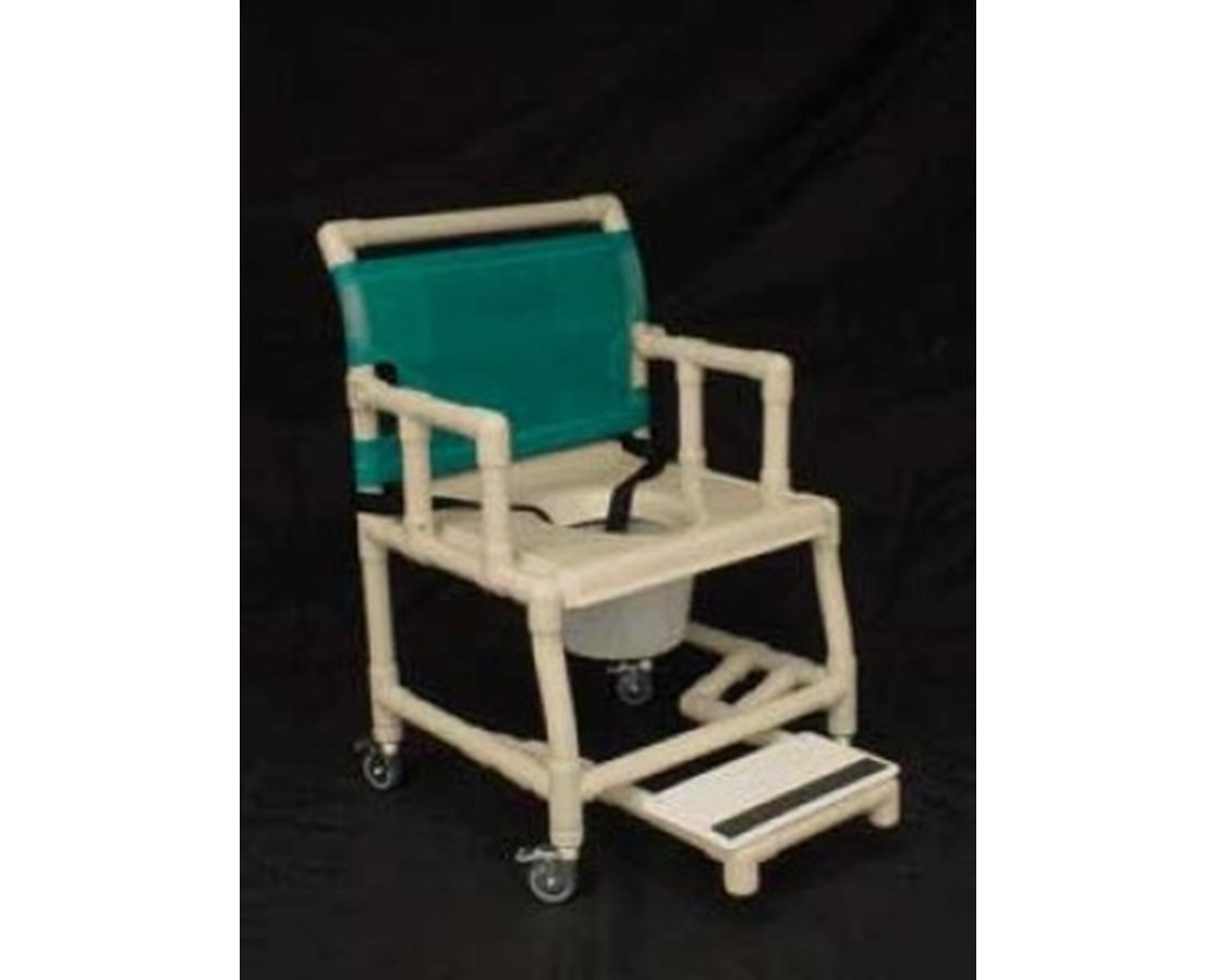 "PVC Shower Chair with Vaccum Formed Seat, Drop Arm, Sliding Footrest and 7 Qt Pail - 21"" Width HMPSC6013WVAC-SFDA-C7"