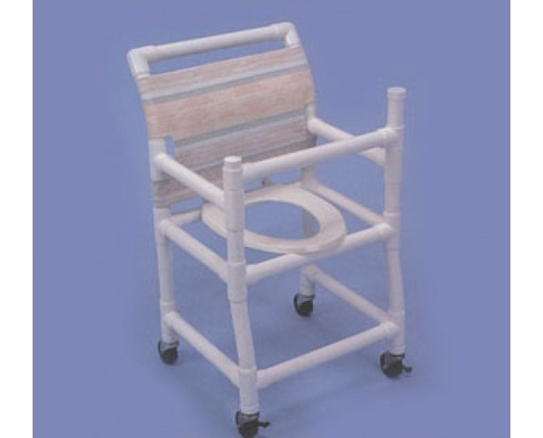 "Gated PVC Shower Chair - Deluxe Elongated Commode Seat with 18"" Width HMPSC6023"