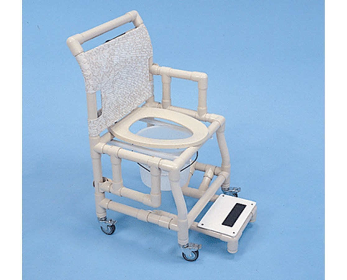 "PVC Shower Chair with 18"" Deluxe Elongated Commode Seat & Sliding Footrest HMPSC603C12APSF"