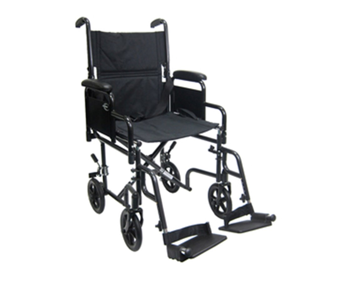 "Transport Wheelchair 19"" Seat with Removable Armrest and Footrest T-2700N"