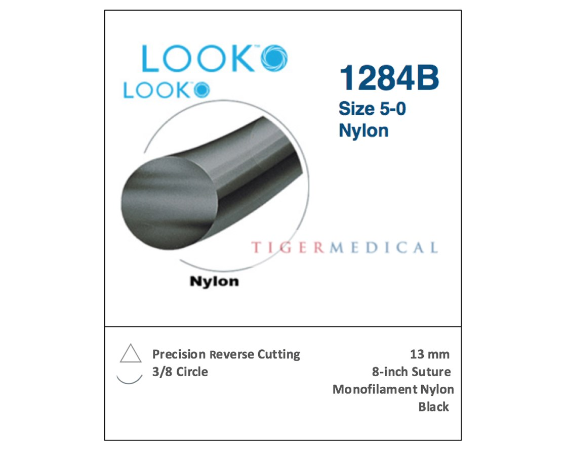 Look 1284B Nylon Non-Absorbable Sutures with Precision Reverse Cutting  Needles, 3/8 Circle, 12 per Box