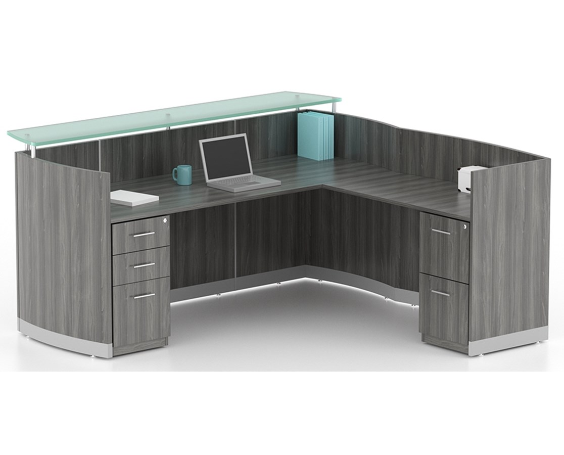 Medina™ Series L Shaped Reception Station with Optional Pedestals MAYMNRSLBF-