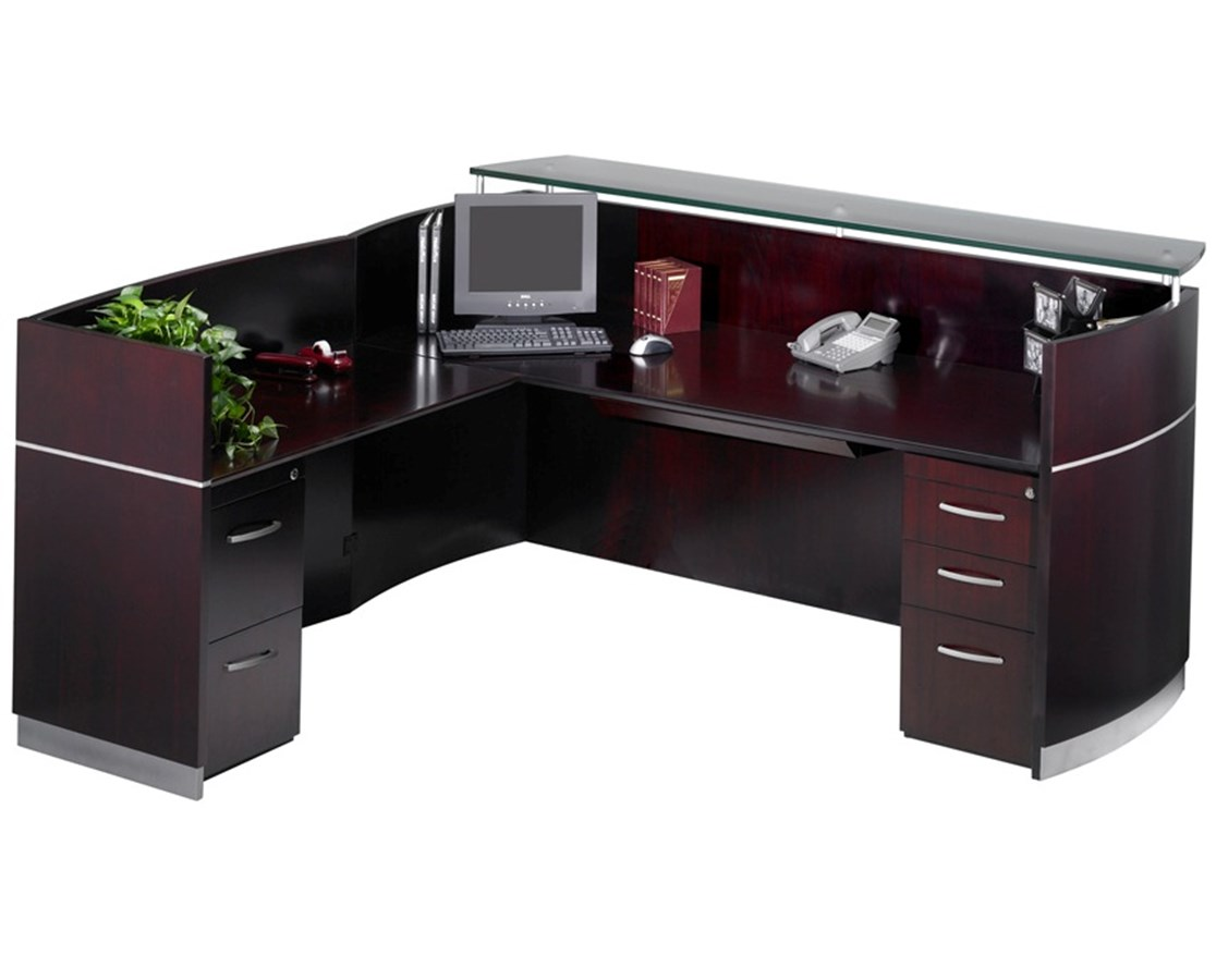 Napoli® L Shaped Reception Station with Optional Pedestals MAYNRSLBA-