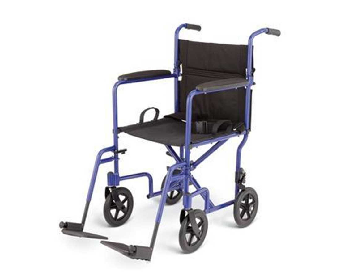 Medline MDS808200ABE Excel Standard Basic Aluminum Transport Chair