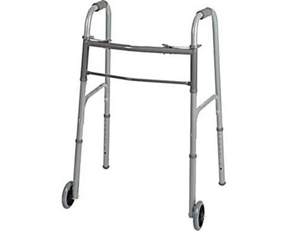 "Guardian Two-Button Adult Folding Walker with 5"" Wheels MEDMDS86410W54"