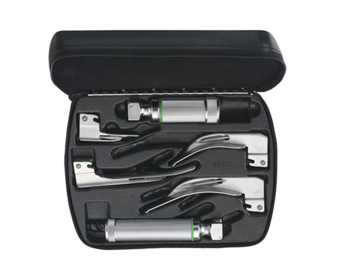 Mixed-Blade Fiber Optic Macintosh/Miller Laryngoscope Set With Medium and Stubby Handles WEL65122