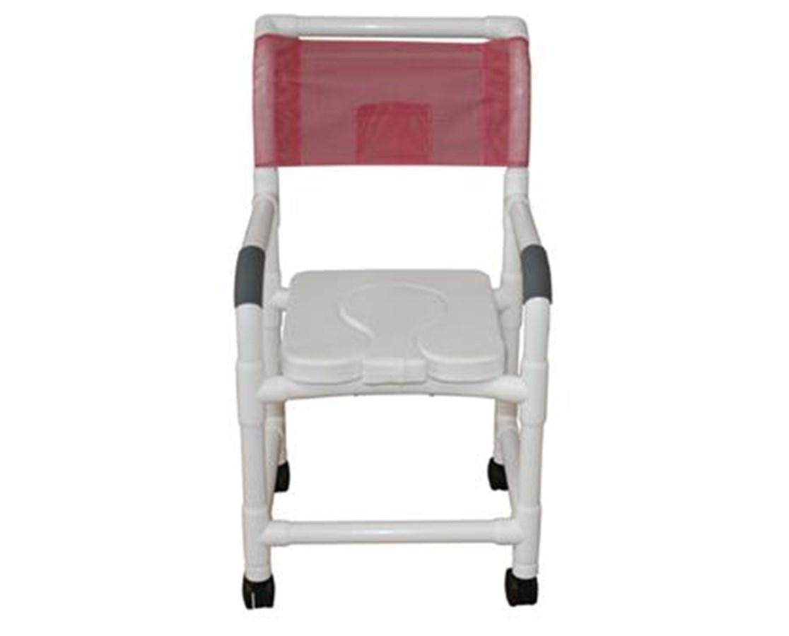 MJM118-3-SSDD-SF Dual Usage Commode Shower Chair with Soft Seat and Sliding Footrest