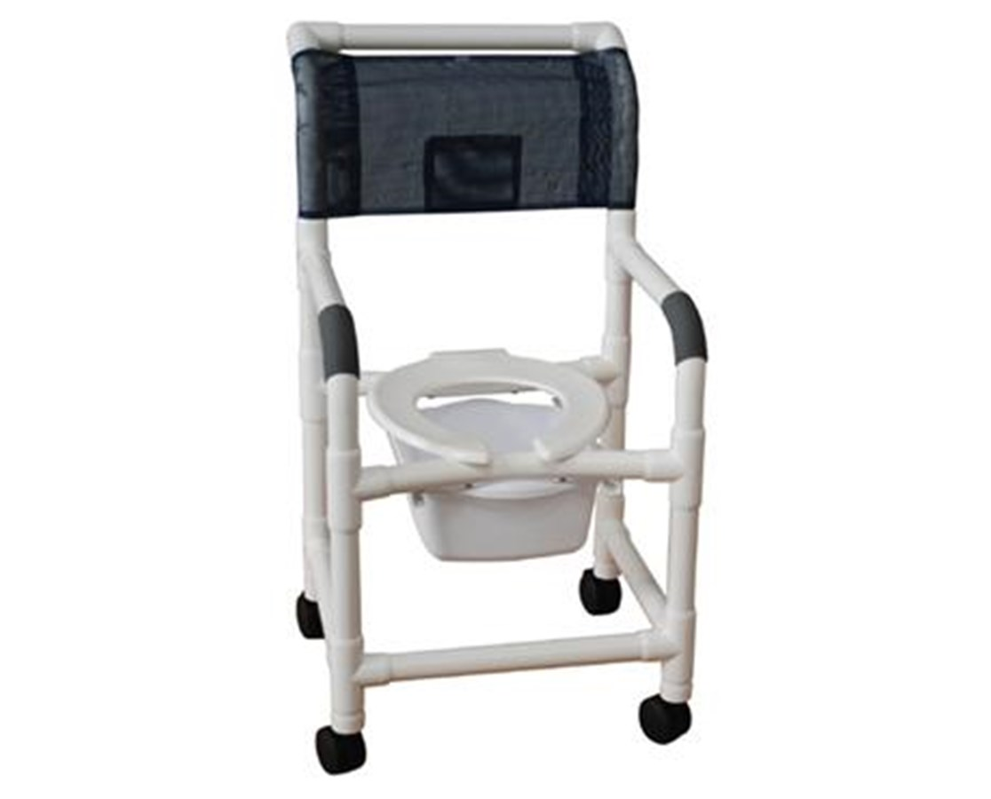 MJM118-5-SQ-PAIL Commode Shower Chair with Heavy Duty Casters and Commode Pail