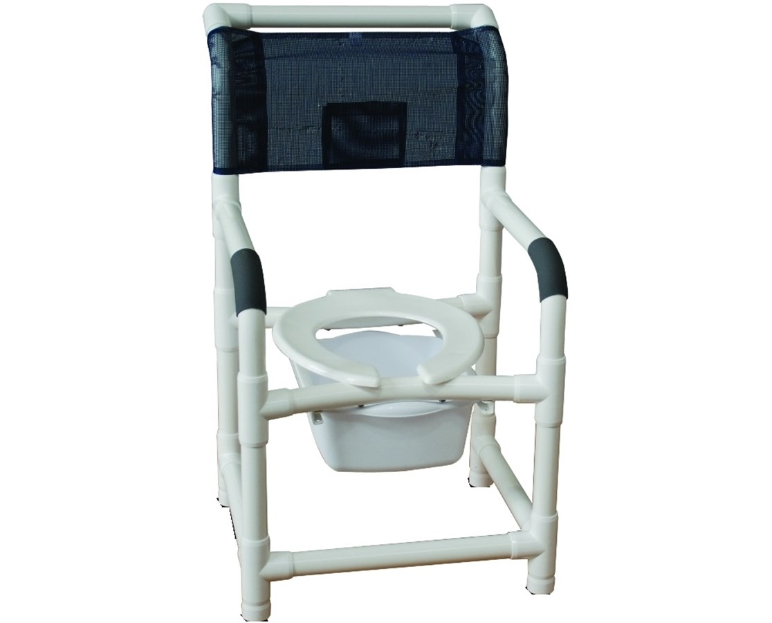MJM 118-LP-10-QT-C-CS Stationary Commode Shower Chair with 10 Quart Pail and Ring Cushioned Seat