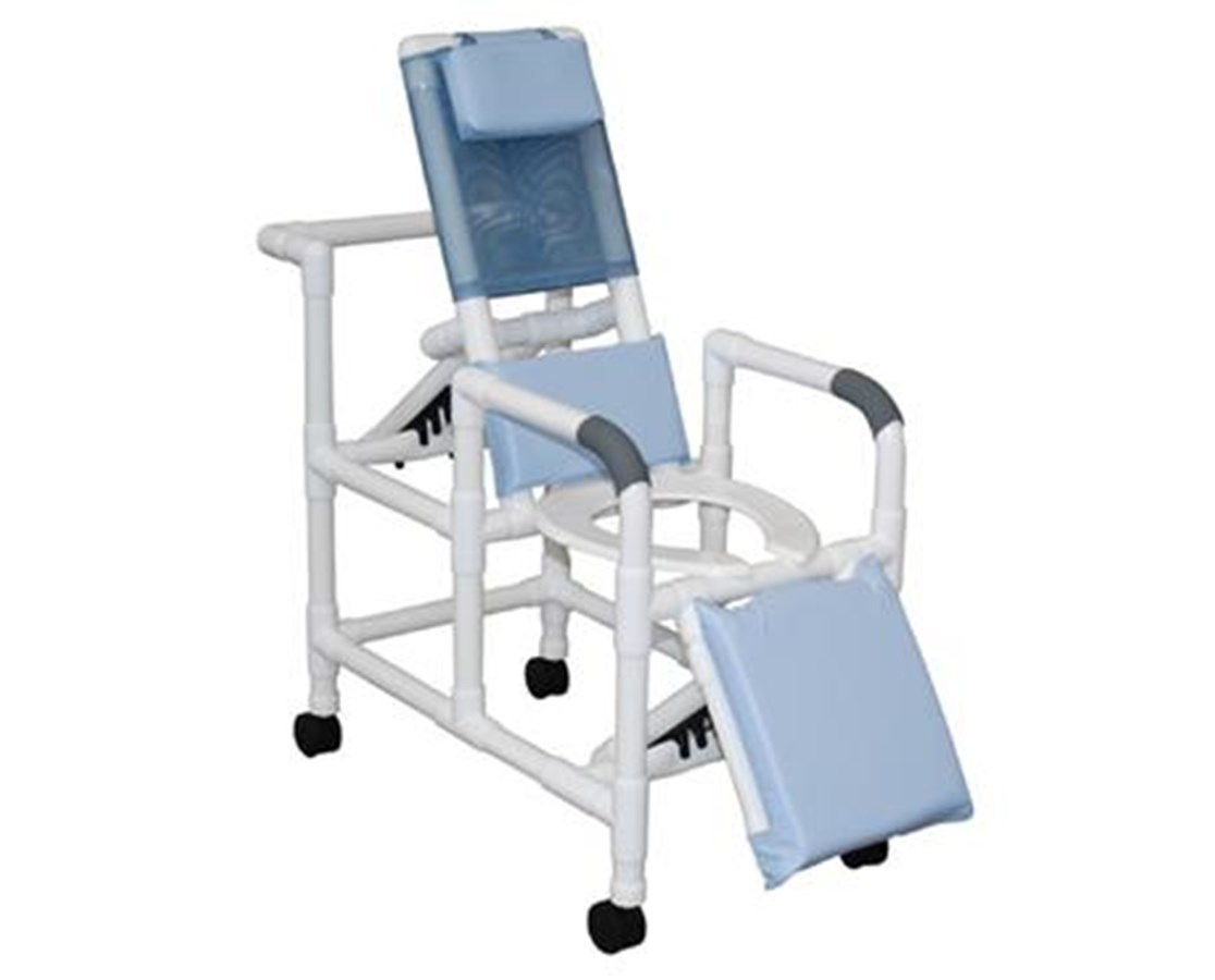MJM 193-PED Pediatric and Small Adult Reclining Shower Commode with Elevated Leg Extensions
