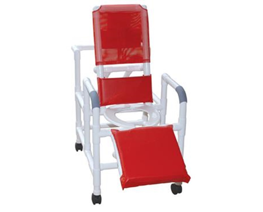MJM 193-SQ-PAIL Reclining Shower Chair with Elevated leg Extension and Commode Pail