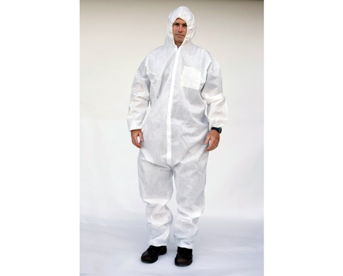 White Lightweight Polypropylene Coveralls with Attached Hood and Zipper Front SNTT3131-55