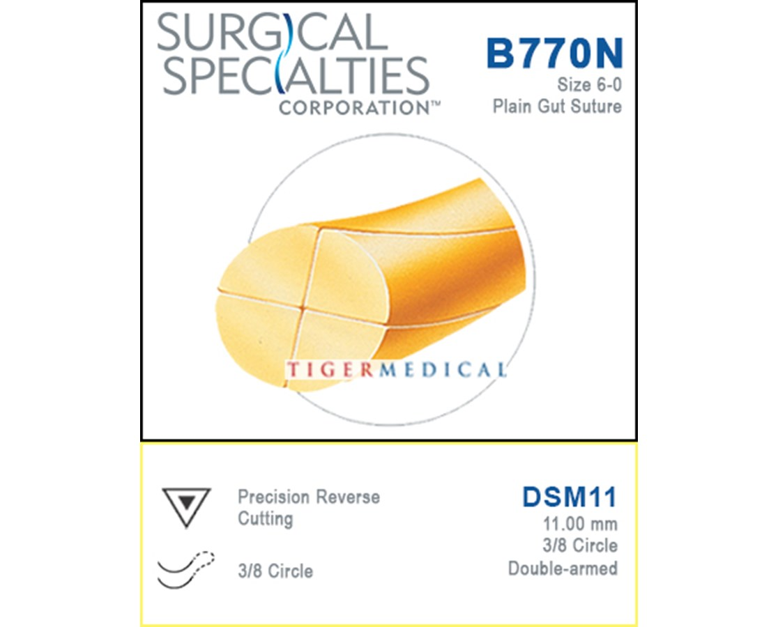 Sharpoint™ Precision Reverse Cutting Double Armed Plain Gut Suture, 3/8 Circle - 12 per Box SSPB770N