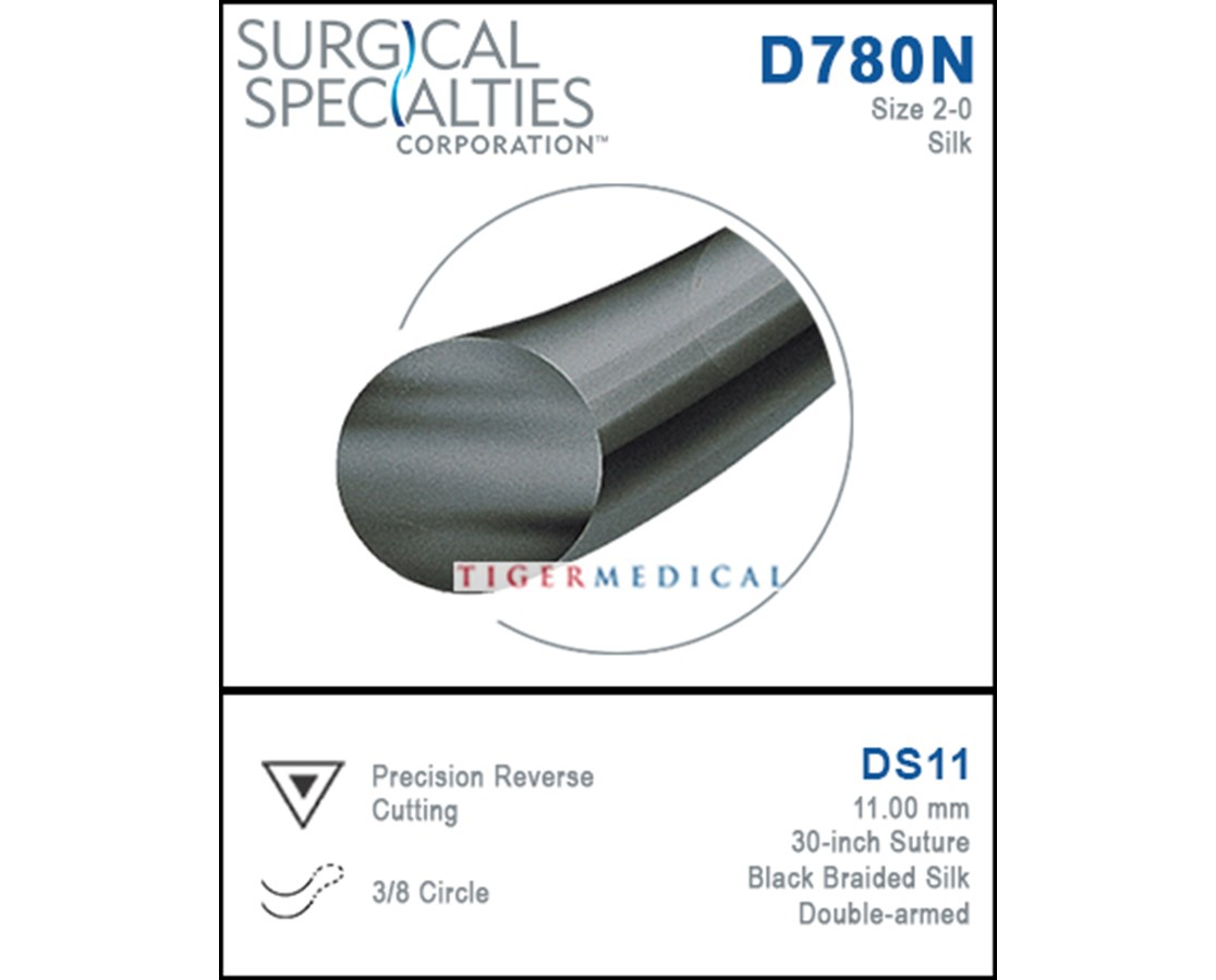 Silk Precision Reverse Cutting Double Armed Sutures, 3/8 Circle - 12 per Box SSPD0191N