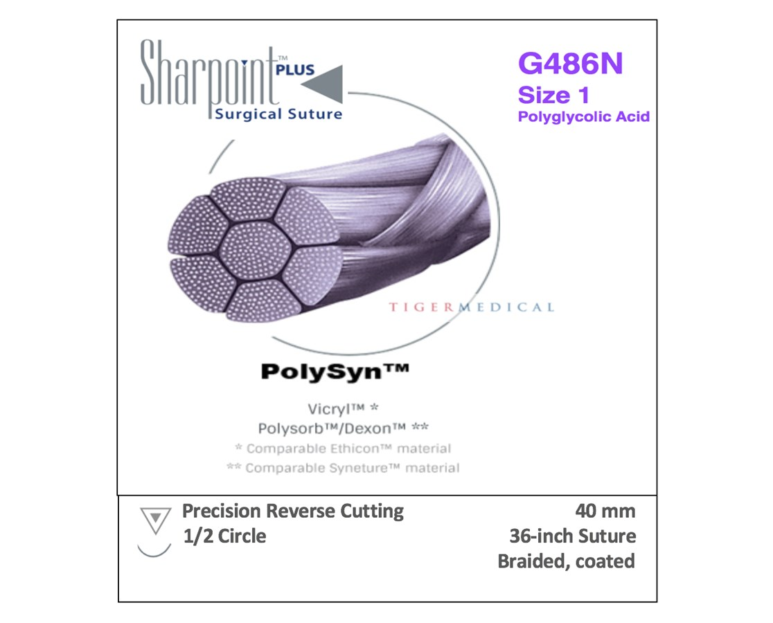 SharpPoint G480N PolySyn™ Absorbable Braided Sutures with Precision Reverse  Cutting Needles, 1/2 Circle, 12 per Box