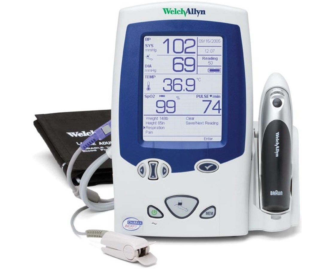 Spot Vital Signs® LXi with SureBP®, Nellcor SpO2, and SureTemp Plus Thermometer WEL45NTO-E1