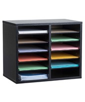 Compartment Wooden Literature Organizer ADI500-12-BLK-