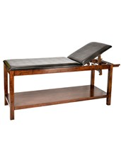 Adjustable Back Wood Treatment Table with Shelf ADI996-03-MA