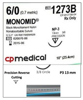 Monomid® Non-Absorbable Sutures with Precision Reverse Cutting P3 Needles, 3/8 Circle, 12 per Box CPM1273B-