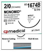 Monomid® Non-Absorbable Sutures with Reverse Cutting FSLX Needles, 3/8 Circle, 12 per Box CPM1674B