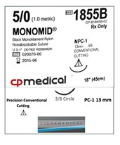 Monomid® Non-Absorbable Sutures with Precision Conventional Cutting Needles, 3/8 Circle, 12 per Box CPM1855B-