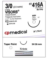 VISORB® PGA Synthetic Absorbable Sutures with Taper Point Needles, 1/2 Circle, 12 per Box CPM416A-