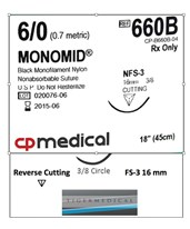 Monomid® Non-Absorbable Sutures with Reverse Cutting FS-3 Needles, 3/8 Circle, Size 6-0, 12 per Box CPM660B-