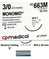 Monomid® Non-Absorbable Sutures with Reverse Cutting Needles, Size 3-0, 3/8 Circle, 12 per Box CPM663M-